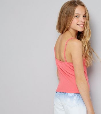 Teens Pink Ribbed Lattice Front Cami New Look