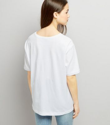 Teens White Lace Up T-Shirt New Look