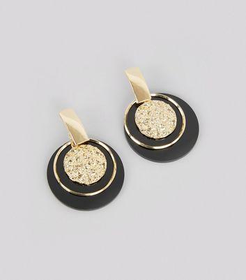 Black Contrast Textured Disc Drop Earrings New Look