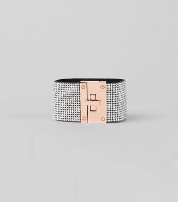 Silver Diamante Twist Lock Cuff New Look