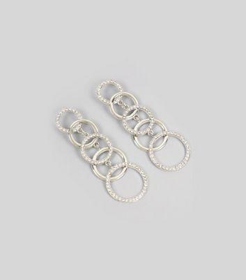 Silver Diamante Ring Link Drop Earrings New Look