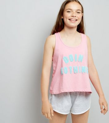 Teens Pink 'Doin Nothing' Slogan Pyjama Set New Look