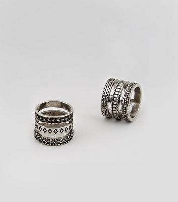 2 Pack Silver Textured Thumb Rings New Look