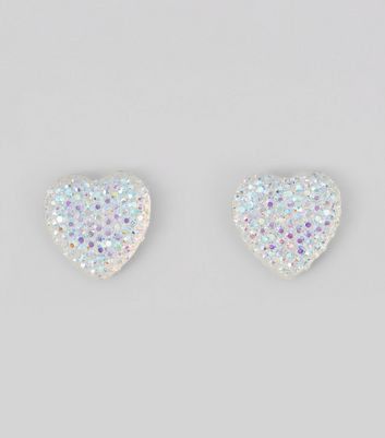 Silver Iridescent Heart Stud Earrings New Look
