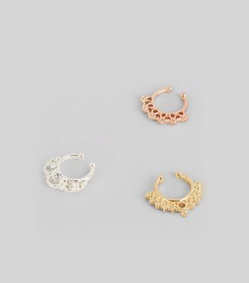 3 Pack Metallic Faux Septum Rings New Look