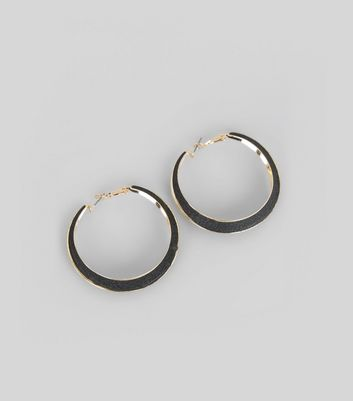 Black Glitter Metal Trim Hoop Earrings New Look