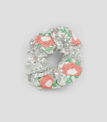 Silver Sequin Floral Embroidered Scrunchie New Look
