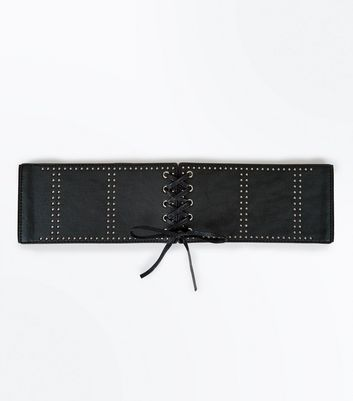 Black Studded Corset Lace Up Belt New Look