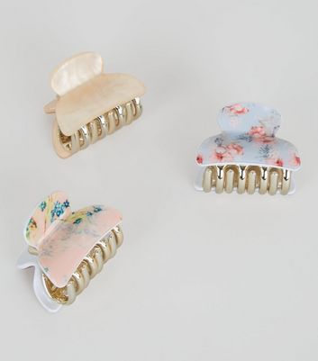 3 Pack Pink Floral Print Bulldog Clips New Look