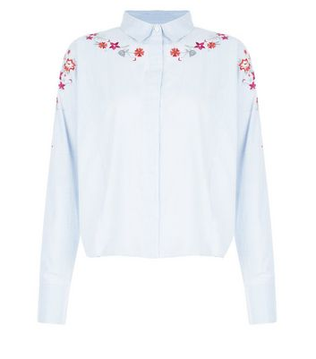Blue Stripe Floral Embroidered Boxy Shirt New Look
