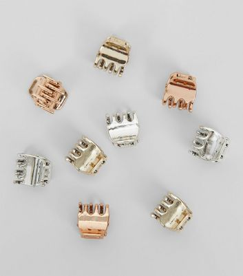 9 Pack Rose Gold Silver and Gold Mini Bulldog Clips New Look