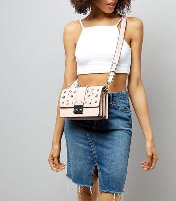 Shell Pink Star Stud Shoulder Bag New Look