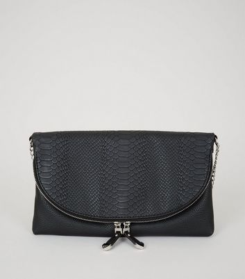 Black Snakeskin Texture Zip Top Cross Body Bag New Look