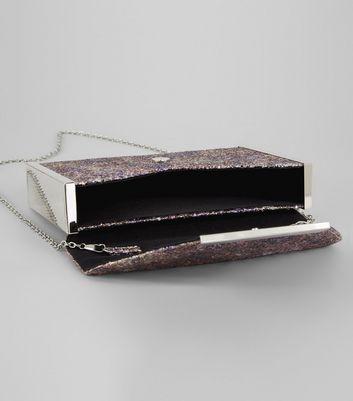 Purple Glitter Envelope Box Clutch Bag New Look