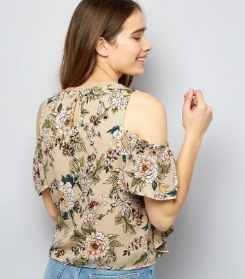 Parisian Shell Pink Floral Print Cold Shoulder Top New Look