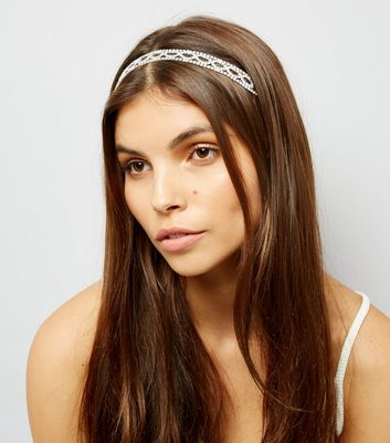 White Beaded Elastic Headband New Look