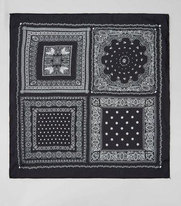 Black Satin Patchwork Print Bandana New Look