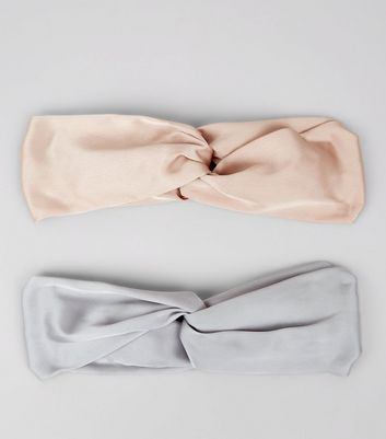 2 Pack Pink and Grey Satin Twist Top Hair Bands New Look