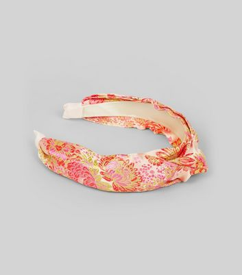 Pink Satin Floral Brocade Knot Top Headband New Look