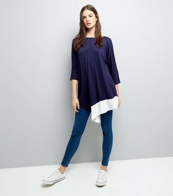 Blue Vanilla Navy Asymmetric Hem Tunic New Look