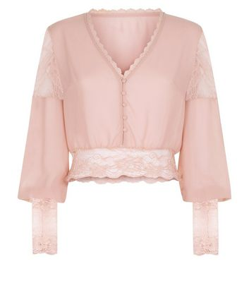Pink Vanilla Pink Lace Trim Blouse New Look