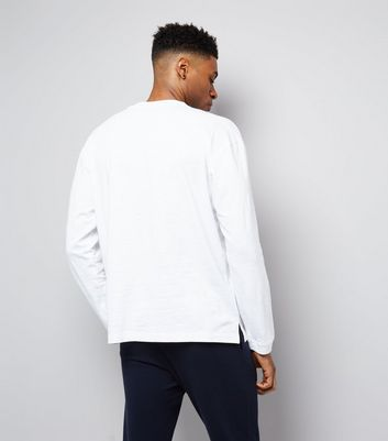 White Long Sleeve Cuff T-Shirt New Look