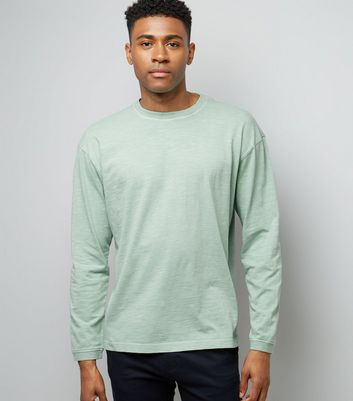 Mint Green Round Neck Long Sleeve T-Shirt New Look