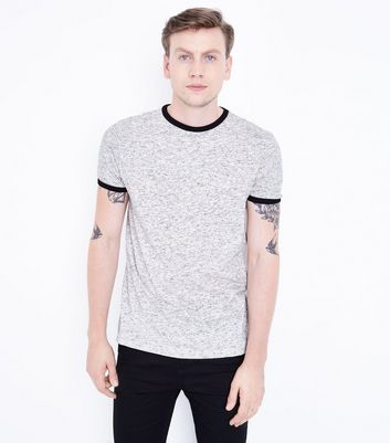 Grey Marl Ringer T-Shirt New Look