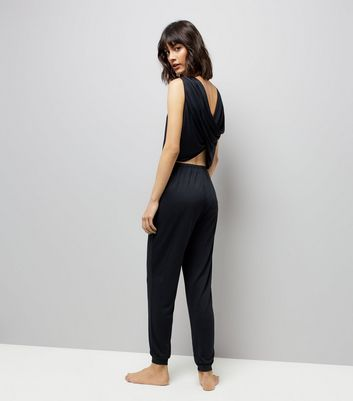 Black Cowl Back Pyjama Jumpsuit New Look