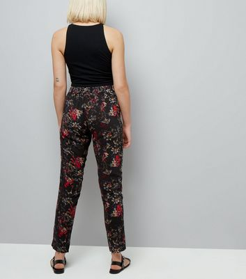 JDY Black Floral Print Trousers New Look