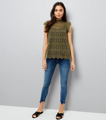 JDY Green Floral Lace Frill Sleeve Top New Look