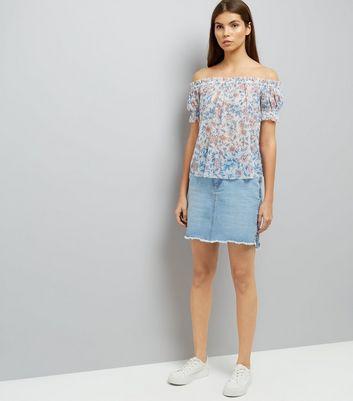 White Floral Print Mesh Bardot Neck Top New Look