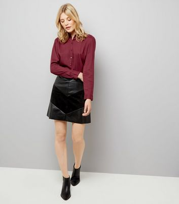JDY Black Leather Look Chevron Mini Skirt New Look
