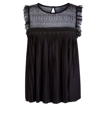 JDY Black Pleated Lace Panel Sleeveless Top New Look