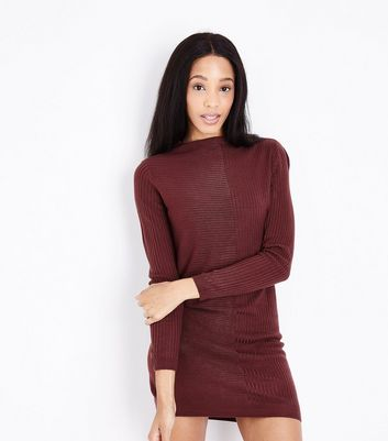 JDY Burgundy Ribbed Jumper Dress New Look