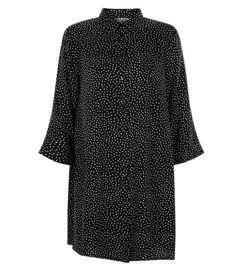 JDY Black Spot Print Shirt Dress New Look
