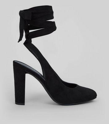 Black Suedette Tie Up Block Heels New Look