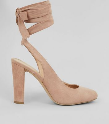 Nude Pink Suedette Tie Up Block Heels New Look