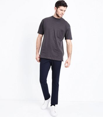 Dark Grey Pocket Front T-Shirt New Look