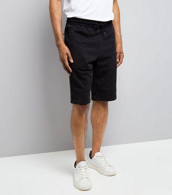 Black Textured Longline Shorts New Look
