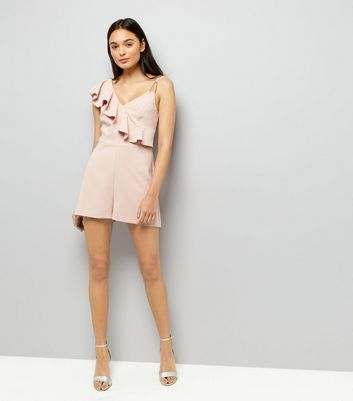 Shell Pink Asymmetric Frill Playsuit New Look