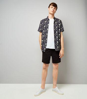 Black Acid Wash Drawstring Shorts New Look