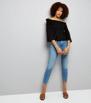 Black Shirred Bardot Neck Top New Look