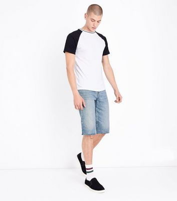 Pale Blue Raw Hem Denim Shorts New Look