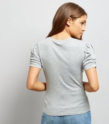Mid Grey Ruched Sleeve T-Shirt New Look