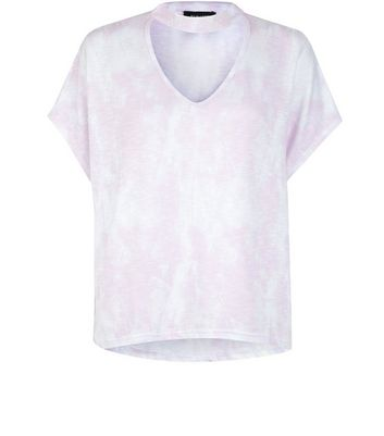 Multi-Colured Fine Knit Choker T-Shirt New Look