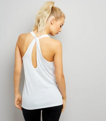 White Work It Out Slogan Loop Back Sports Vest New Look