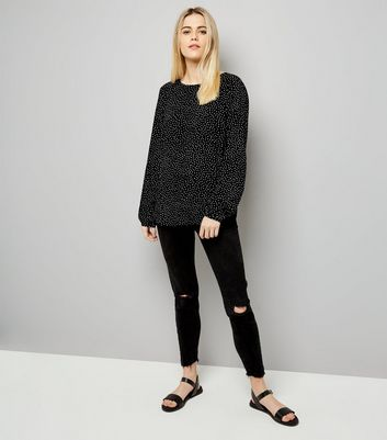 JDY Black Spot Print Cross Strap Blouse New Look