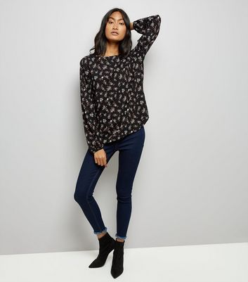 JDY Black Floral Print Cross Strap Blouse New Look