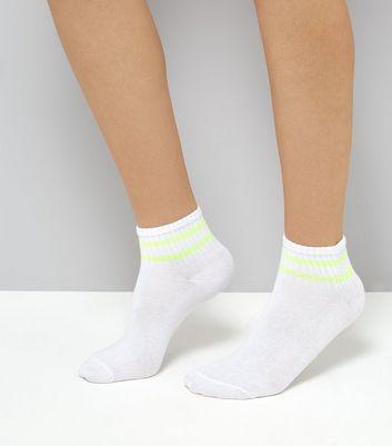 White Neon Stripe Ankle Socks New Look